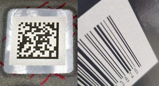 Datamatrix vs. čárový kód označené laserem